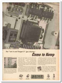 C M Kemp Mfg Company 1959 Vintage Ad Oil Set Forget Gas Drying