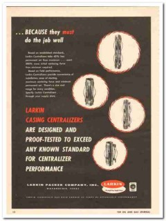 Larkin Packer Company 1959 Vintage Ad Oil Field Casing Centralizer