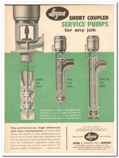 Layne Bowler Inc 1959 Vintage Ad Oil Field Service Pumps Short Coupled