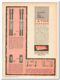 Layne Bowler Company 1959 Vintage Ad Oil Field Screens Sand Problem