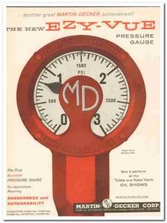 Martin-Decker Corp 1959 Vintage Ad Oil Pressure Gauge Ezy-Vue Accurate