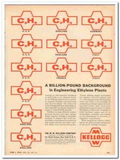 M W Kellogg Company 1959 Vintage Ad Oil Ethylene Plants Engineering