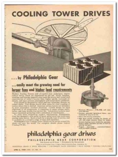 Philadelphia Gear Corp 1959 Vintage Ad Oil Cooling Tower Drives Fans
