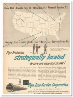 Pipe Line Service Corp 1959 Vintage Ad Oil Field Strategically Located