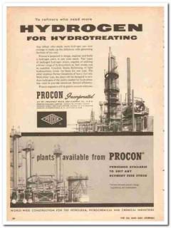 Procon Inc 1959 Vintage Ad Oil Hydrogen Hydrotreating Build Plants
