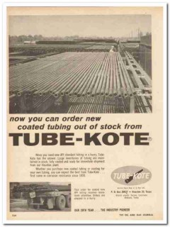 Tube-Kote Inc 1959 Vintage Ad Oil Field Order Coated Tubing Corrosion