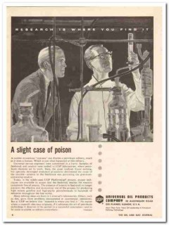 Universal Oil Products Company 1959 Vintage Ad Slight Case Poison