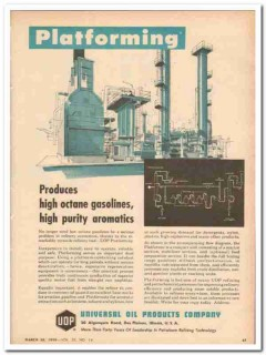 Universal Oil Products Company 1959 Vintage Ad Platforming High Octane