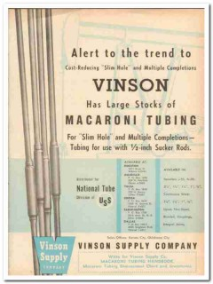 Vinson Supply Company 1959 Vintage Ad Oil Field Macaroni Tubing