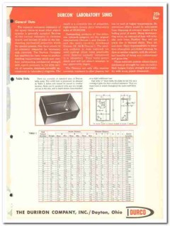 Duriron Company 1964 Vintage Catalog Laboratory Sinks Durco Durcon