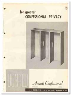 J R Donald Company 1964 Vintage Catalog Church Acousti-Confessional
