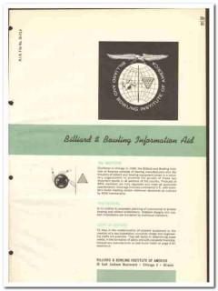 Billiard Bowling Institute America 1964 Vintage Catalog Information
