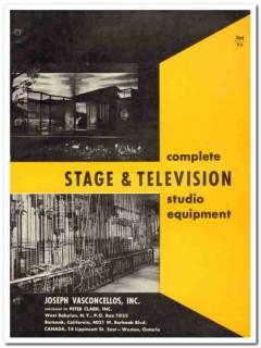 Joseph Vasconcellos 1964 Vintage Catalog Stage TV Equipment Asbestos