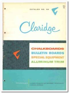 Claridge Products Equipment Inc 1964 Vintage Catalog Chalkboards