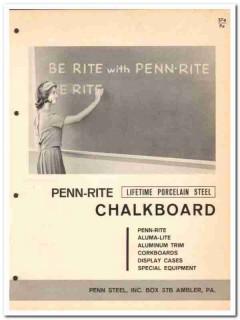 Penn Steel Inc 1964 Vintage Catalog Classroom Chalkboard Penn-Rite