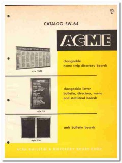 Acme Bulletin Directory Board Corp 1964 Vintage Catalog Changeable