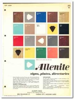 Allen Marking Products Inc 1964 Vintage Catalog Signs Plates Allenite