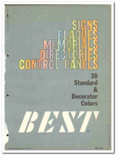 Best Mfg Company 1964 Vintage Catalog Signs Plaques Directories Panels
