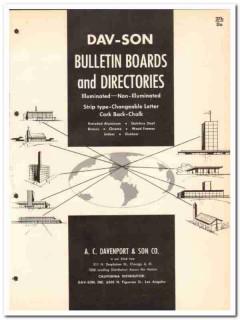 A C Davenport Son Company 1964 Vintage Catalog Bulletin Boards Dav-Son