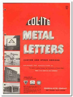 Colonial-Hites Company 1964 Vintage Catalog Metal Letters Col-Ite