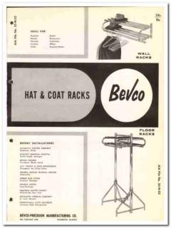 Bevco-Precision Mfg Company 1964 Vintage Catalog Hat Coat Racks