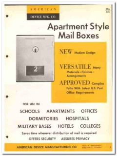 American Device Mfg Company 1964 Vintage Catalog Mail Boxes Apartment