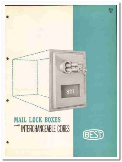 Best Universal Lock Company 1964 Vintage Catalog Mail Boxes Pin Cores