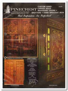 Pinecrest Inc 1982 Vintage Catalog Doors El Dorado Custom Hand-Carved
