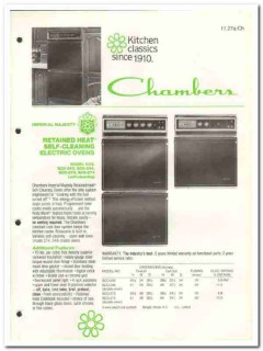 Chambers Corp 1982 Vintage Catalog Appliance Rangaire Ovens Cooktops