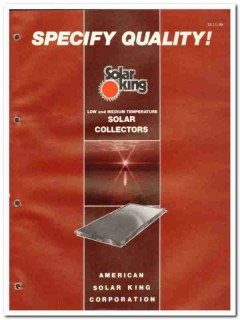 American Solar King Corp 1982 Vintage Catalog Hot Water Systems Roof