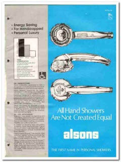 Alsons Corp 1982 Vintage Catalog Shower System Personal Hand Held