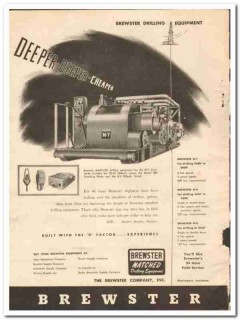 Brewster Company 1950 Vintage Ad Oil Drilling Equipment Deeper Cheaper