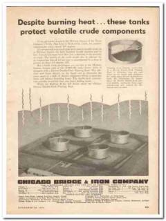 Chicago Bridge Iron Company 1950 Vintage Ad Despite Burning Heat Tanks