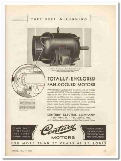 century electric company 1931 enclosed fan-cooled motor vintage ad