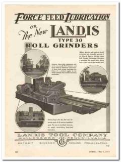 landis tool company 1931 feed lubrication roll grinder vintage ad