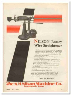 a h nilson machine company 1931 rotary wire straightener vintage ad