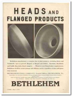 bethlehem steel company 1931 heads flanged plate products vintage ad