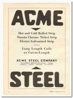 acme steel company 1931 hot cold rolled chrome nickel strip vintage ad