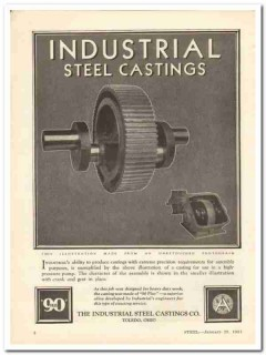 industrial steel castings company 1931 extreme precision vintage ad