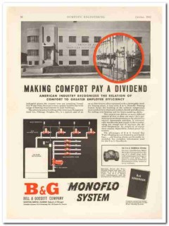 bell gossett company 1942 comfort pay forced hot water heat vintage ad