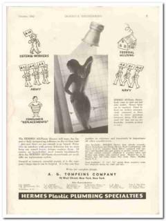a g tompkins company 1942 hermes plastic plumbing shower vintage ad