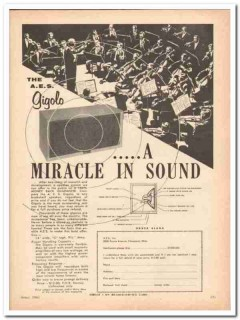 a e s inc 1961 gigolo orchestra miracle sound speaker vintage ad