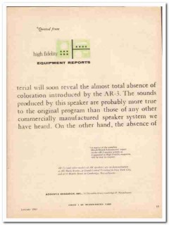 acoustic research inc 1961 ar-3 equipment reports green vintage ad