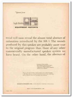 acoustic research inc 1961 ar-3 equipment reports black vintage ad