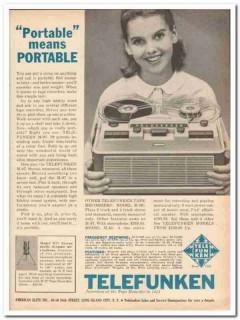 american elite inc 1961 telefunken m-97 portable recorder vintage ad