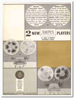 ampex audio company 1961 model 934 936 stereo tape players vintage ad