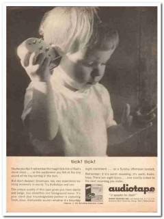 audio devices inc 1961 tick clock audiotape recording tape vintage ad