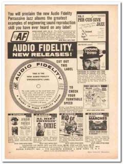 audio fidelity inc 1961 percussive jazz stroboscopic record vintage ad