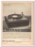 benjamin electronic sound corp 1961 miracord turntable vintage ad