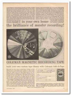 coleman electronics inc 1961 home master recording tape vintage ad